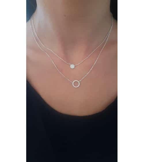 Collier double (2 en 1) avec une pastille et un anneau sertis d'oxydes de zirconium (longueur 45 cm ajustable à 42 cm)