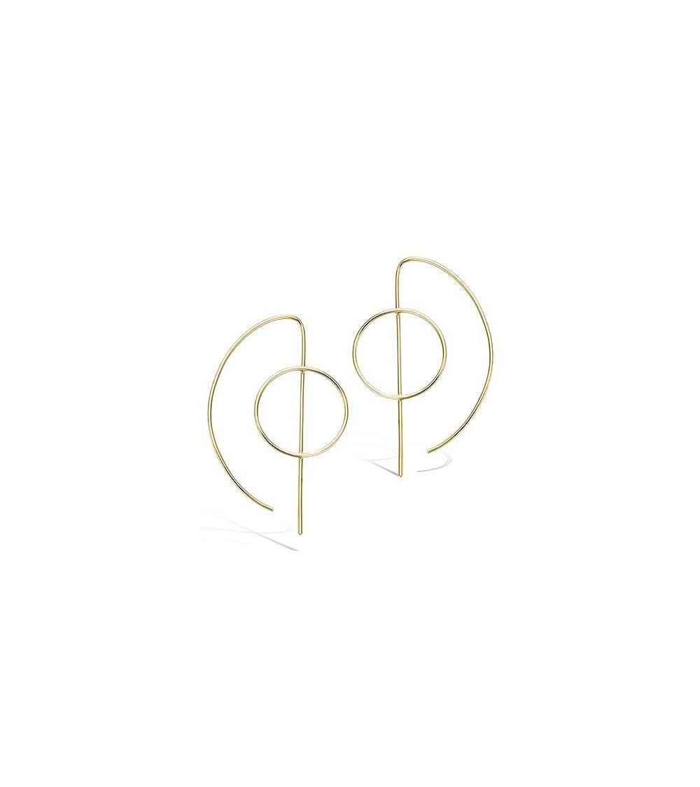 Boucles d'oreilles en plaqué or de forme géométrique à longs crochets