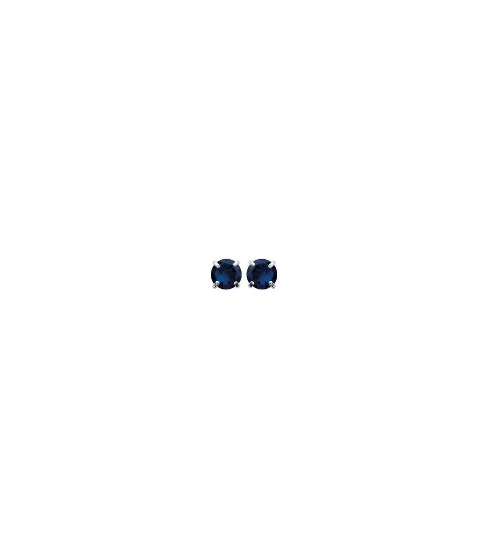 Boucles d'oreilles en argent 925/1000 rhodié avec oxyde de zirconium 4 griffes (diamètre 4 mm)