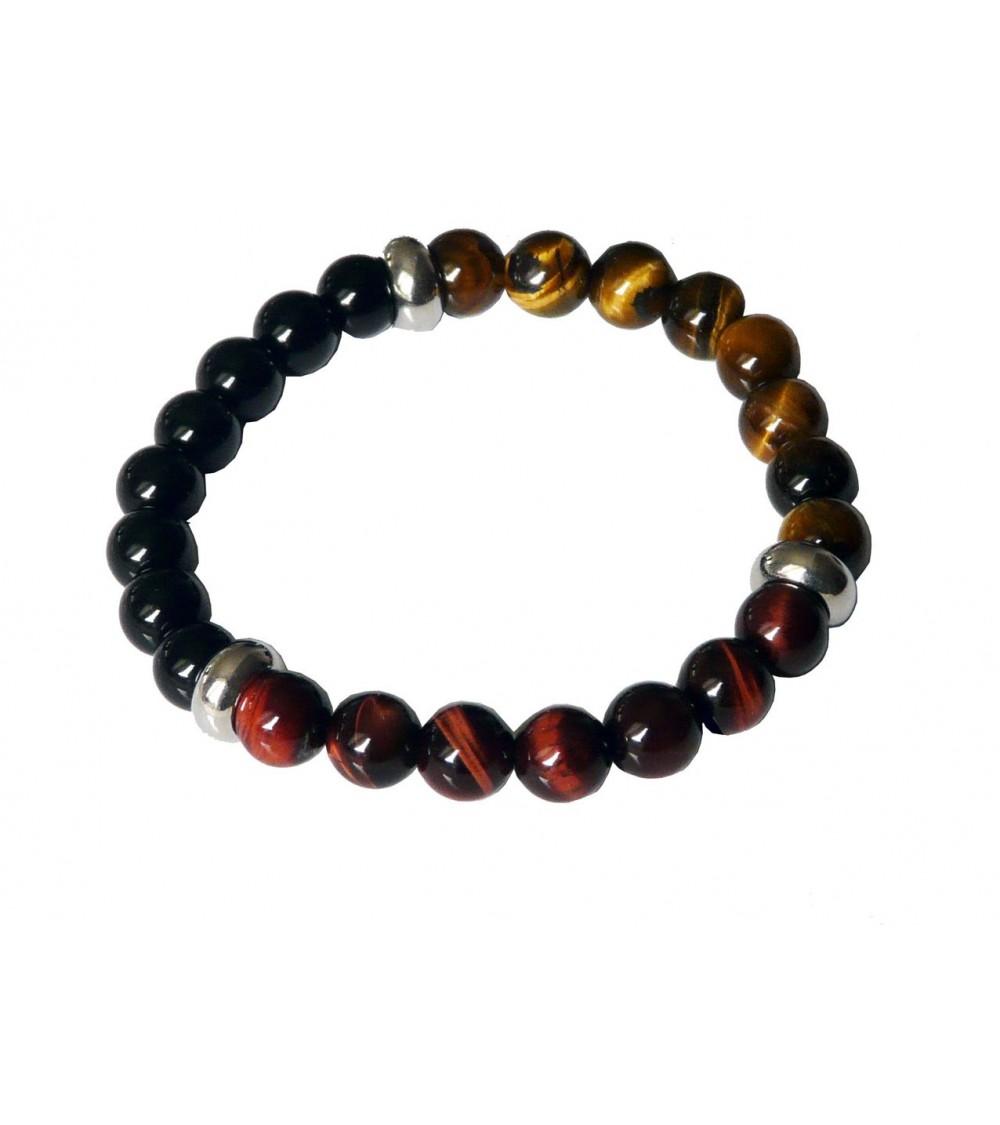Bracelet en pierres naturelles œil de tigre, œil de taureau, onyx et boules en acier, monté sur élastique