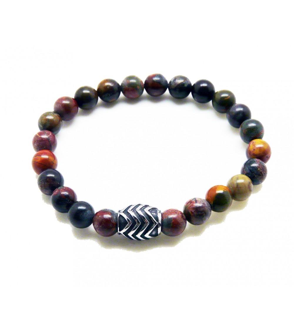 Bracelet en pierre naturelle jaspe avec acier, monté sur élastique