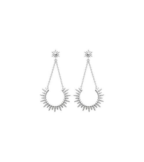 Boucles d'oreilles demi soleil en argent 925/1000 rhodié, avec poussettes