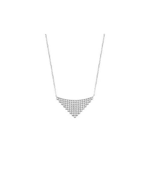 Collier en argent 925/1000 rhodié avec motif triangle incrusté d'oxydes de zirconium, en longueur 45 cm ajustable