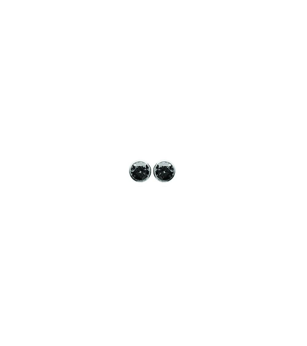 Boucles d'oreilles en argent 925/1000 rhodié serties clos d'oxydes de zirconium noir, avec poussettes (diamètre 5 mm)