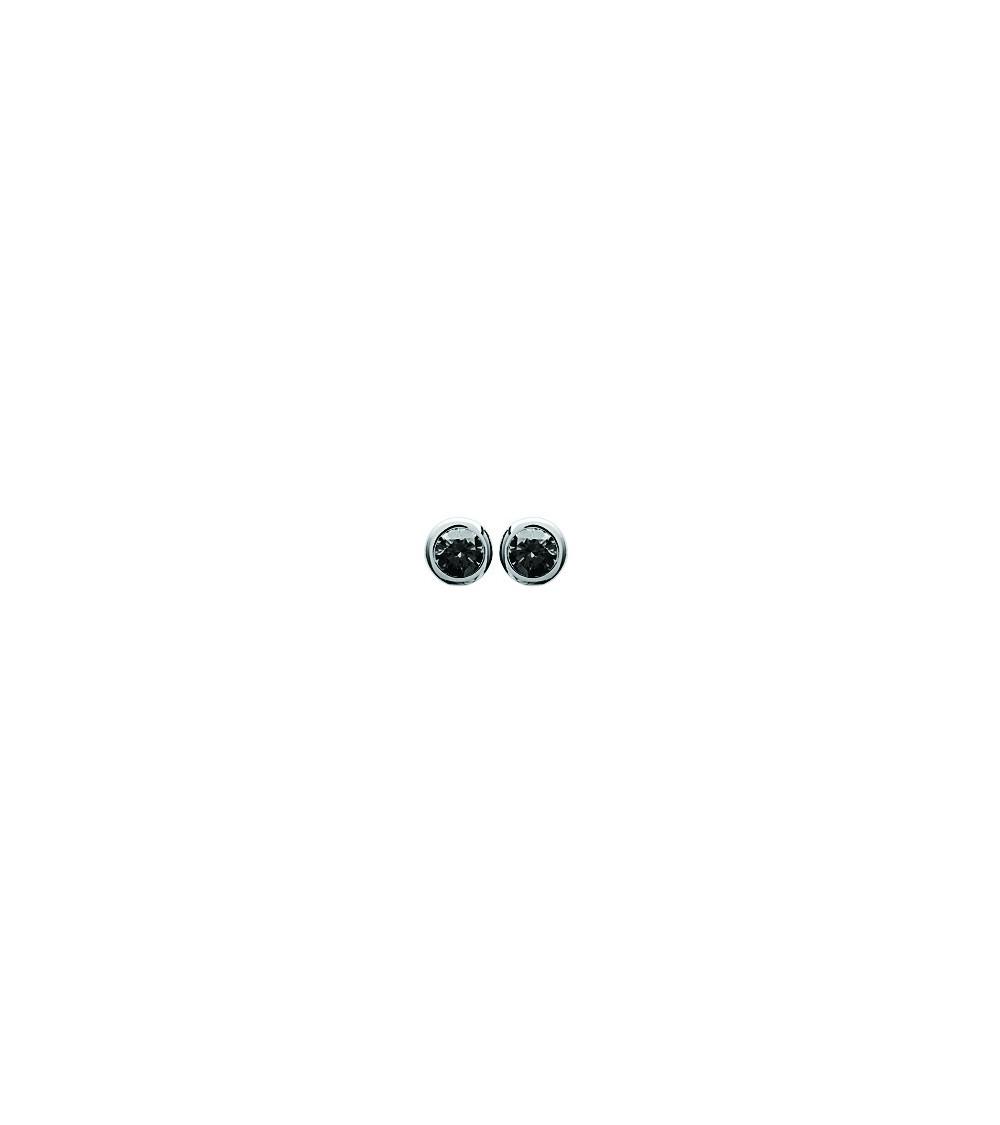 Boucles d'oreilles en argent 925/1000 rhodié serties clos d'oxydes de zirconium noir, avec poussettes (diamètre 4 mm)