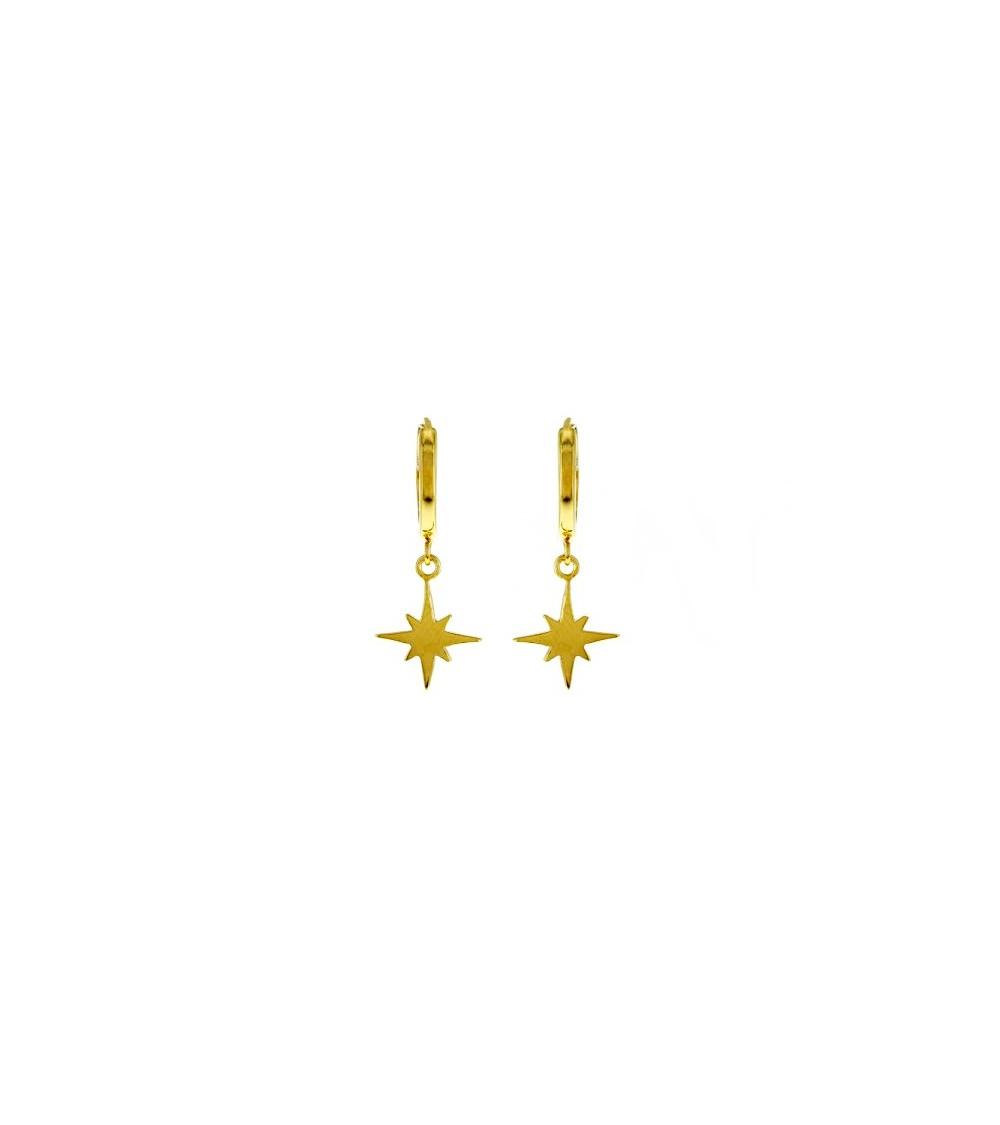 Boucles d'oreilles petites créoles avec étoile pendante, en plaqué or