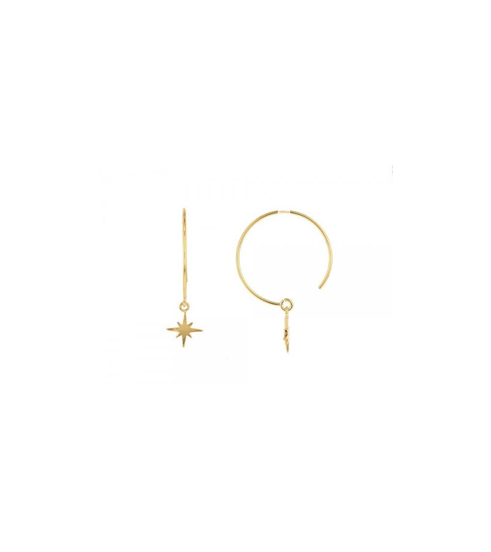 Boucles d'oreilles créoles avec étoile pendante, en plaqué or