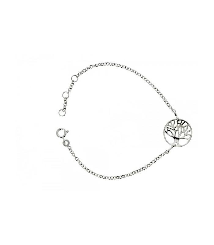"""Bracelet en argent 925/1000 rhodié """"arbre de vie"""", en longueur 19cm réglable à 17 et 18cm"""