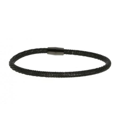 """Bracelet en acier noir maille """"picot"""" avec fermeture magnétique"""