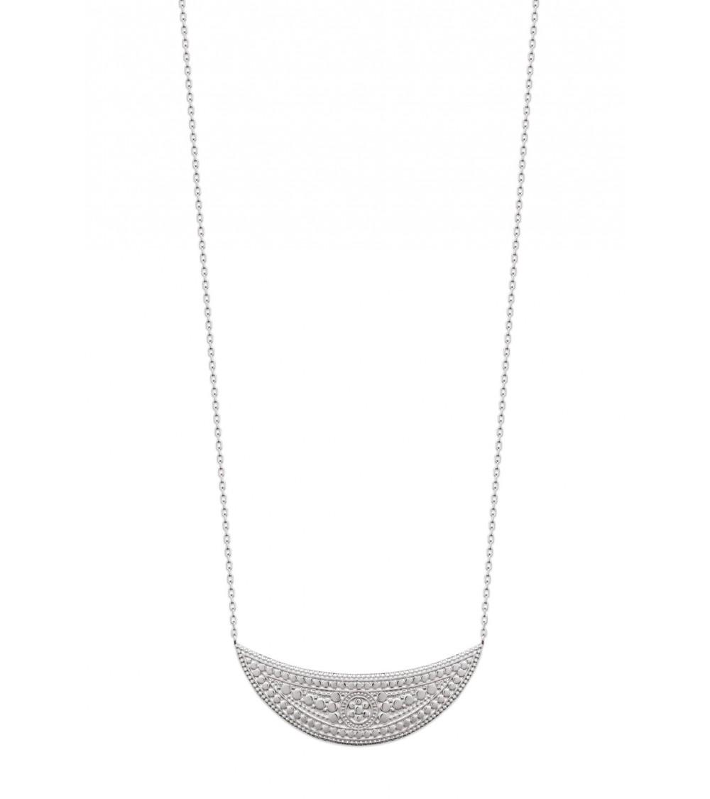 """Collier en argent 925/1000 rhodié en forme de lune au motif""""aztèque"""" (longueur 45 cm réglable à 42 et 40 cm)"""