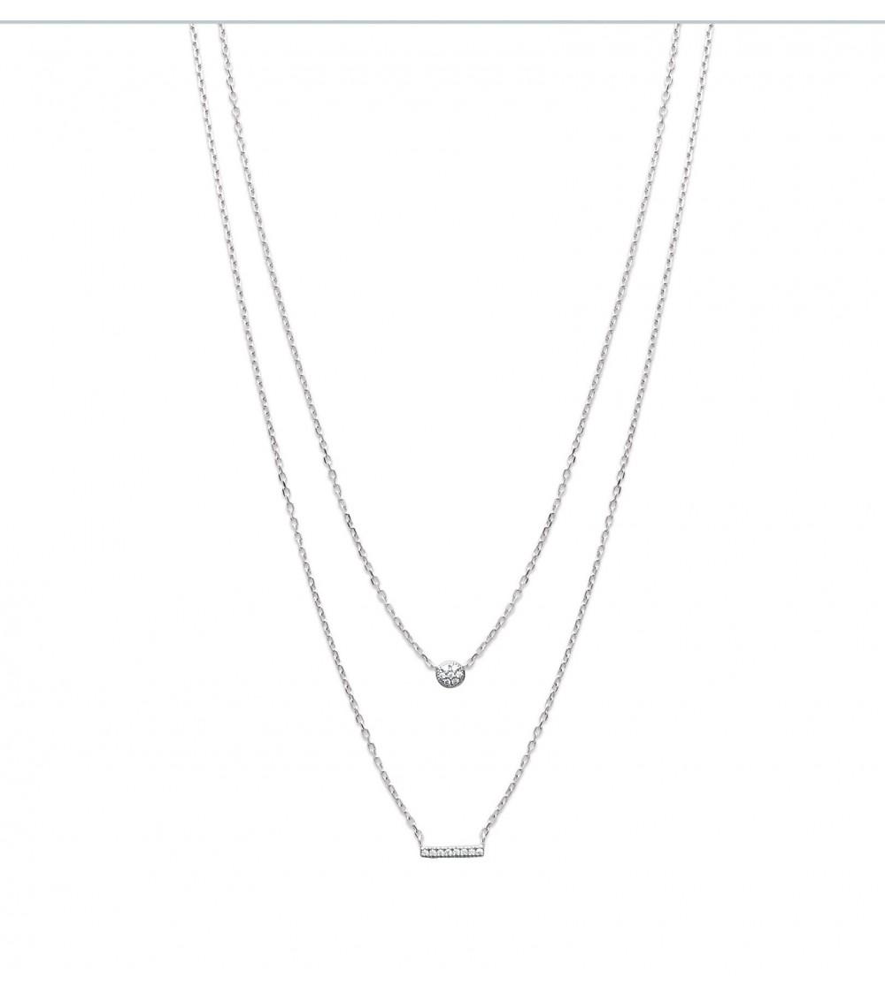 Collier 2 en 1 en argent 925/1000 rhodié avec une petite pastille et une petite barre sertis d'oxydes de zirconium