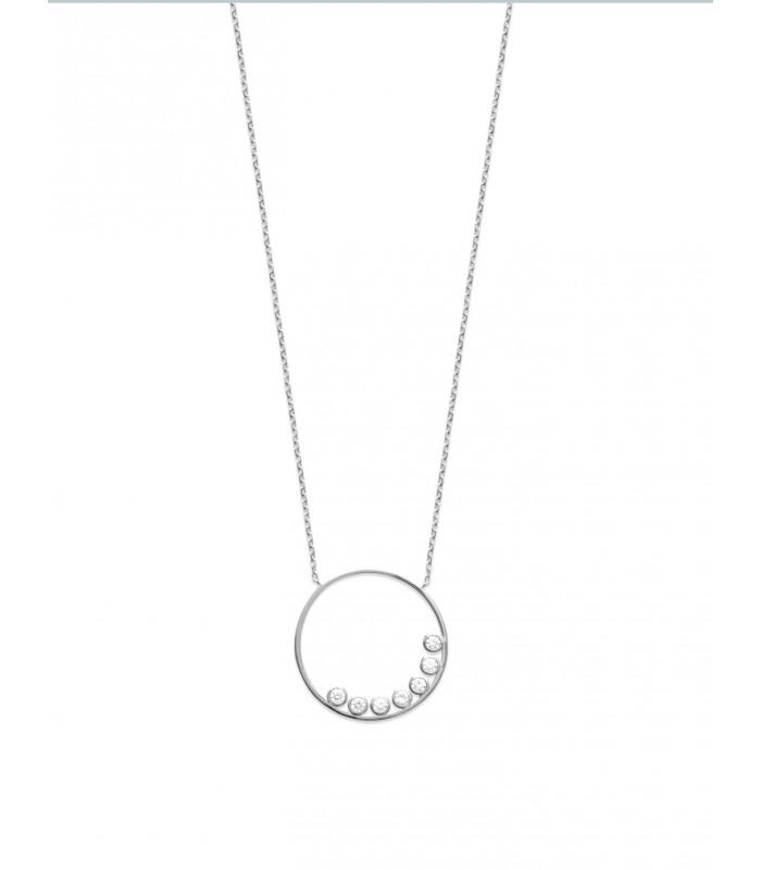 Collier en argent 925/1000 rhodié avec un anneau serti de 7 oxydes de zirconium en longueur 45 cm réglable en 42 et 40 cm