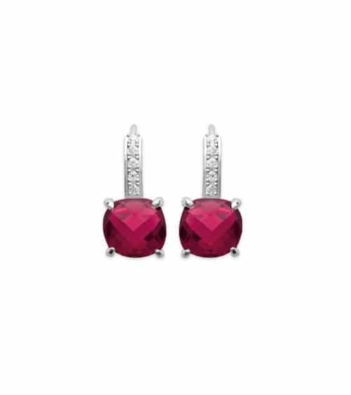 Boucles d'oreilles dormeuse en argent 925/1000 rhodié et oxydes de zirconium dont 1 carré teinté rouge
