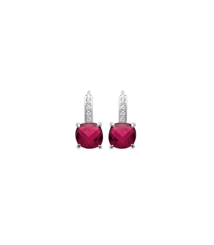 Boucles d'oreilles dormeuse en argent 925/1000 rhodié et oxydes de zirconium ont 1 carré teinté rouge