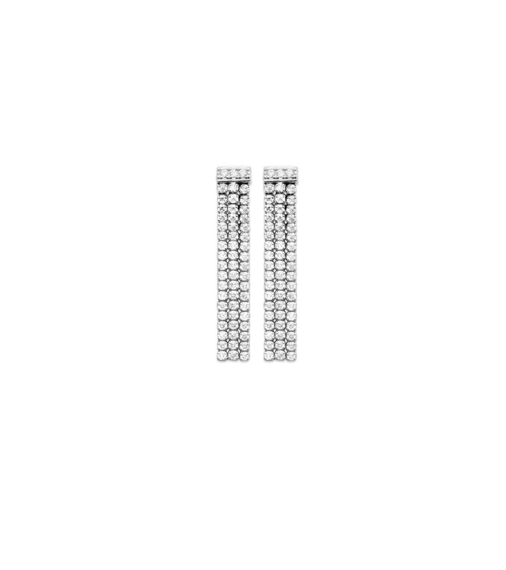 Boucles d'oreilles pendantes en argent 925/1000 rhodié comportant 3 rangs d'oxydes de zirconium, avec poussettes