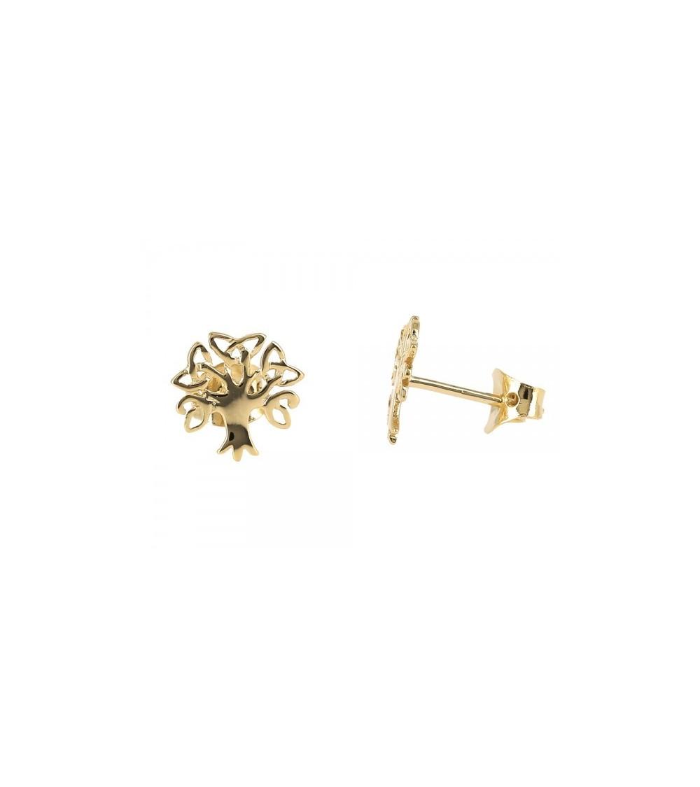 """Boucles d'oreilles """"arbre de vie"""" en plaqué or avec poussettes"""