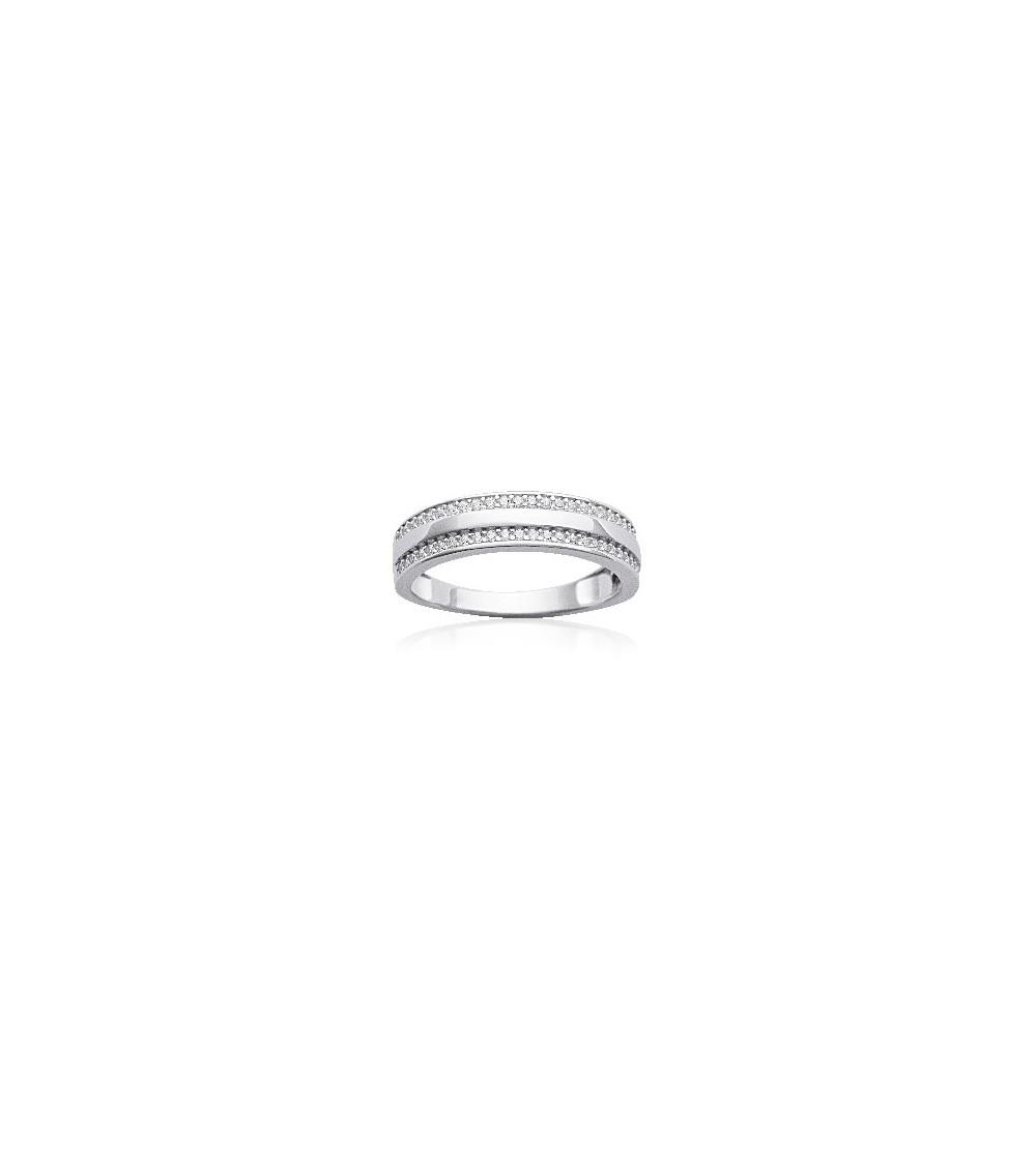 Bague anneau en argent 925/1000 rhodié avec 2 demi rangs d'oxydes de zirconium