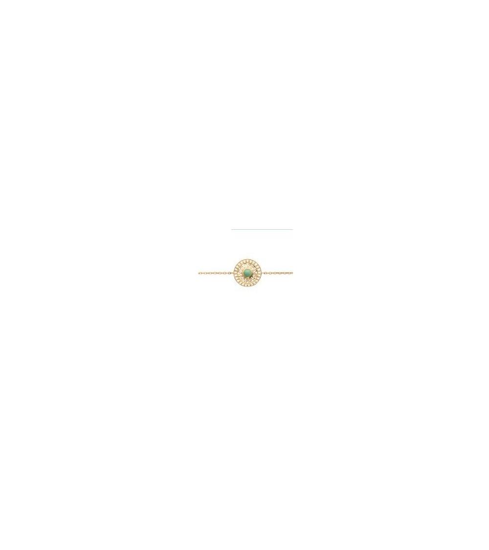 Bracelet en plaqué or avec en son centre une aventurine, longueur 18 cm  réglable à 16 cm