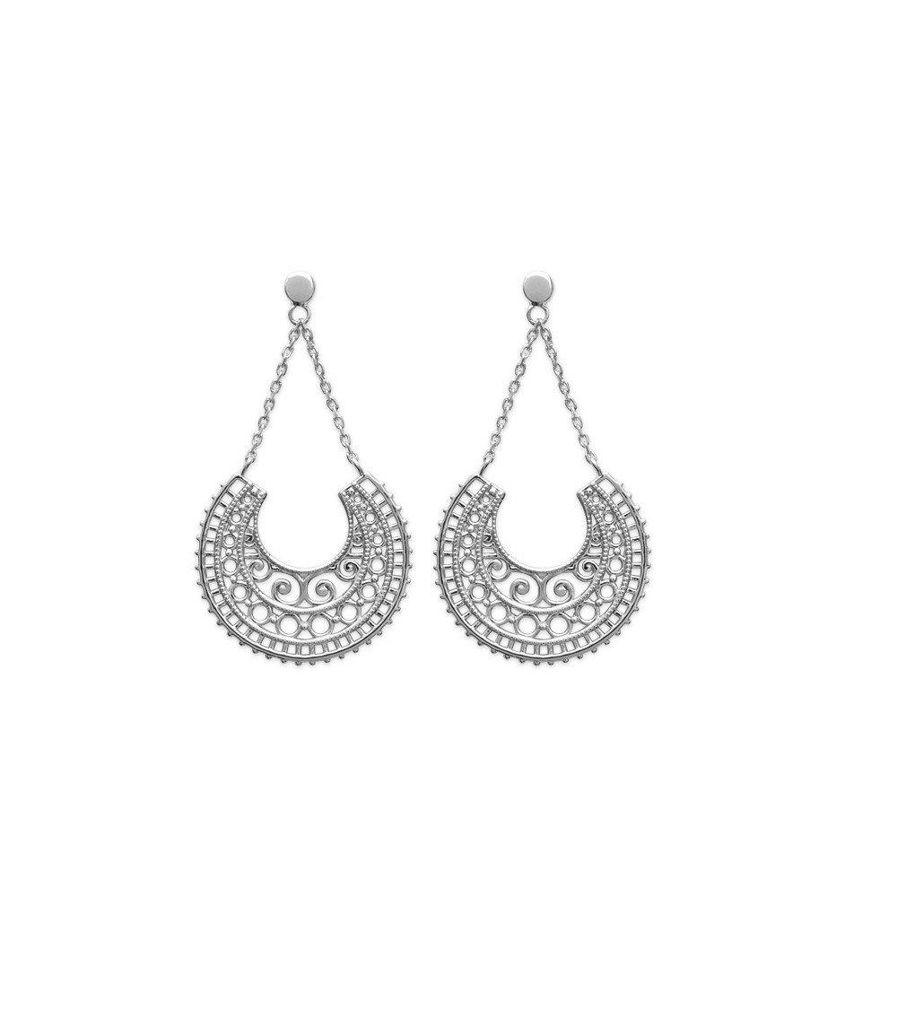 Boucles d'oreilles demi sphère ajourée en argent 925 / 1000 rhodié, avec poussettes