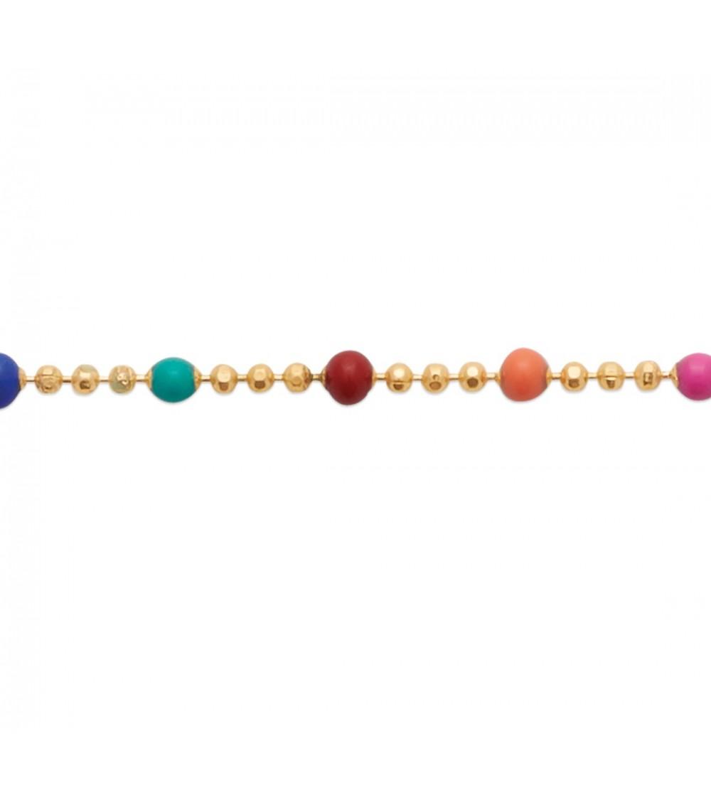 Bracelet en plaqué or avec boules multicolores en émail, en longueur 18 cm ajustable