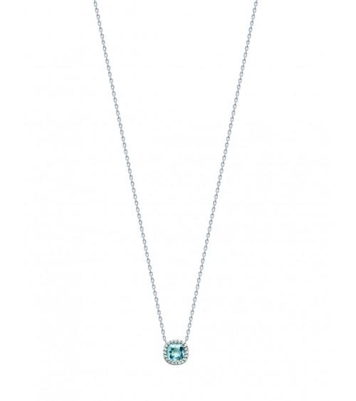 Collier en argent 925/1000 rhodié avec un carré en pierre de synthèse bleu ciel, entourée d'oxydes de zirconium