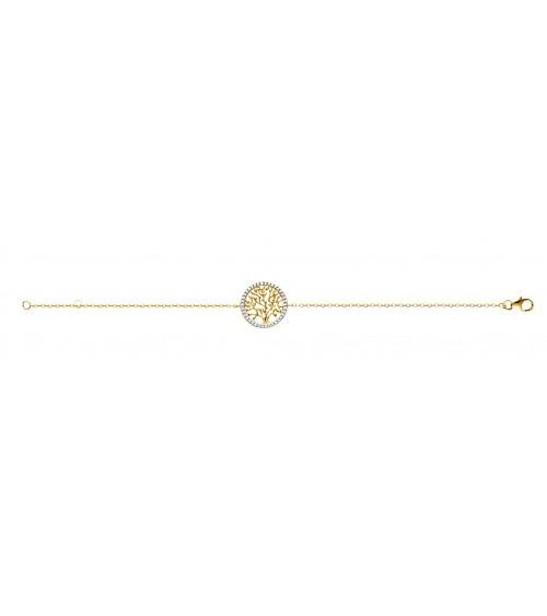 Bracelet en plaqué or avec motif arbre de vie entouré d'oxydes de zirconium (longueur 18cm réglable à 16cm)