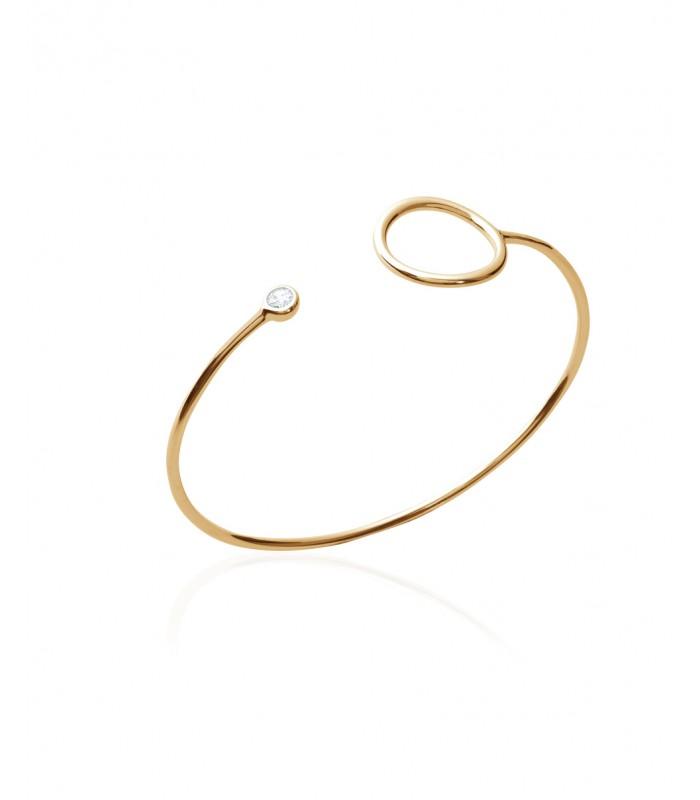 Bracelet ouvert en plaqué or avec à une extrémité un rond et à l'autre un oxyde de zirconium