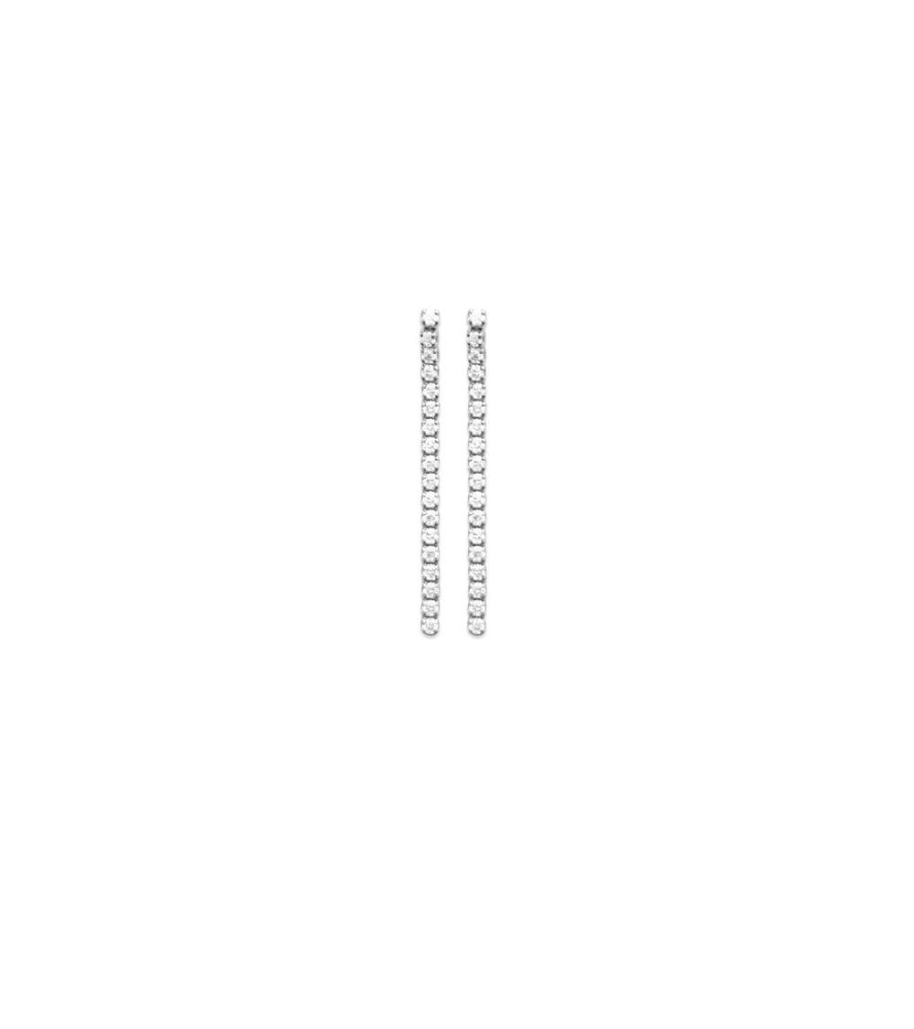Boucles d'oreilles en argent 925/1000 rhodié avec un rang vertical d'oxydes de zirconium