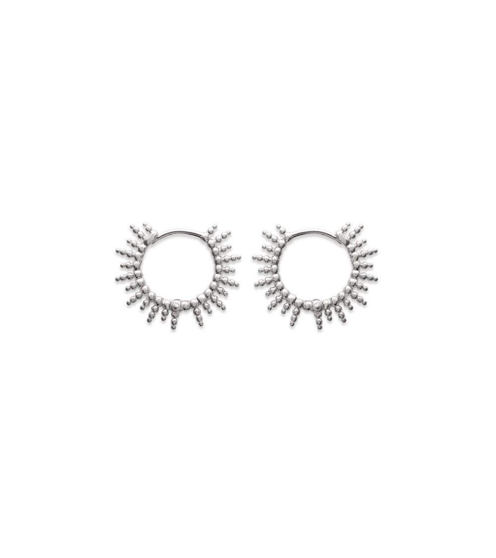 Boucles d'oreilles créoles motif soleil en argent 925/1000 rhodié