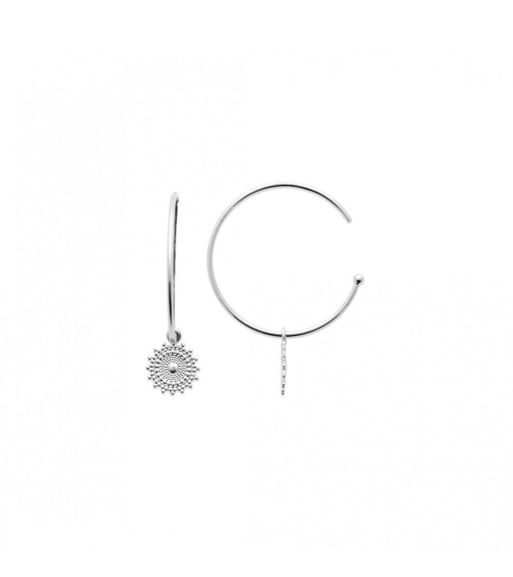 Boucles d'oreilles créoles avec motif pendant, en argent 925/1000ème rhodié (diamètre 27 mm)