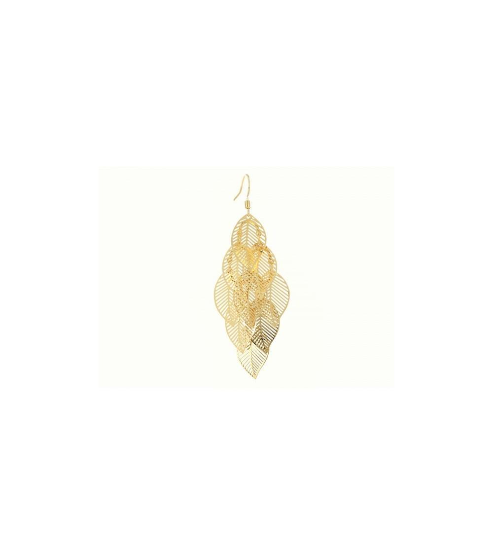 Boucles d'oreilles pendantes motif feuilles en plaqué or, avec crochets