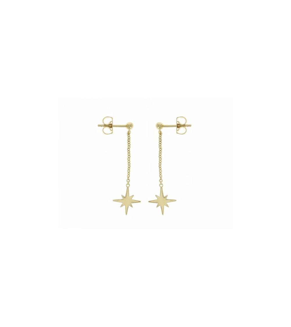 Boucles d'oreilles pendantes étoile en plaqué or, avec poussettes
