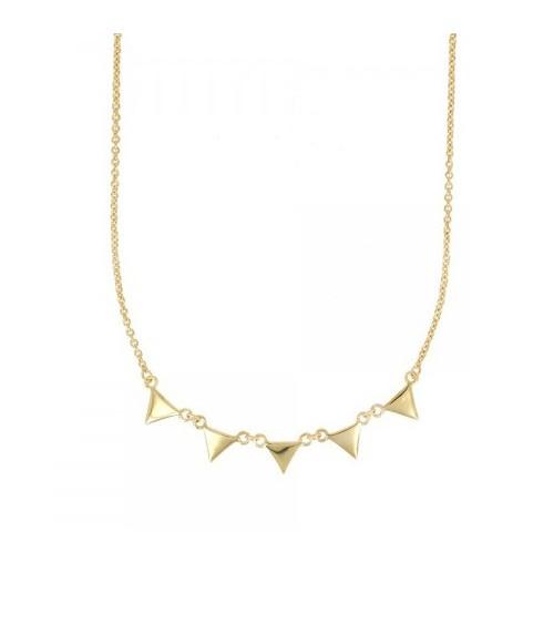 """Collier avec pampilles """"triangles"""" en plaqué or, en longueur 45 cm réglable à 42 et 40 cm"""