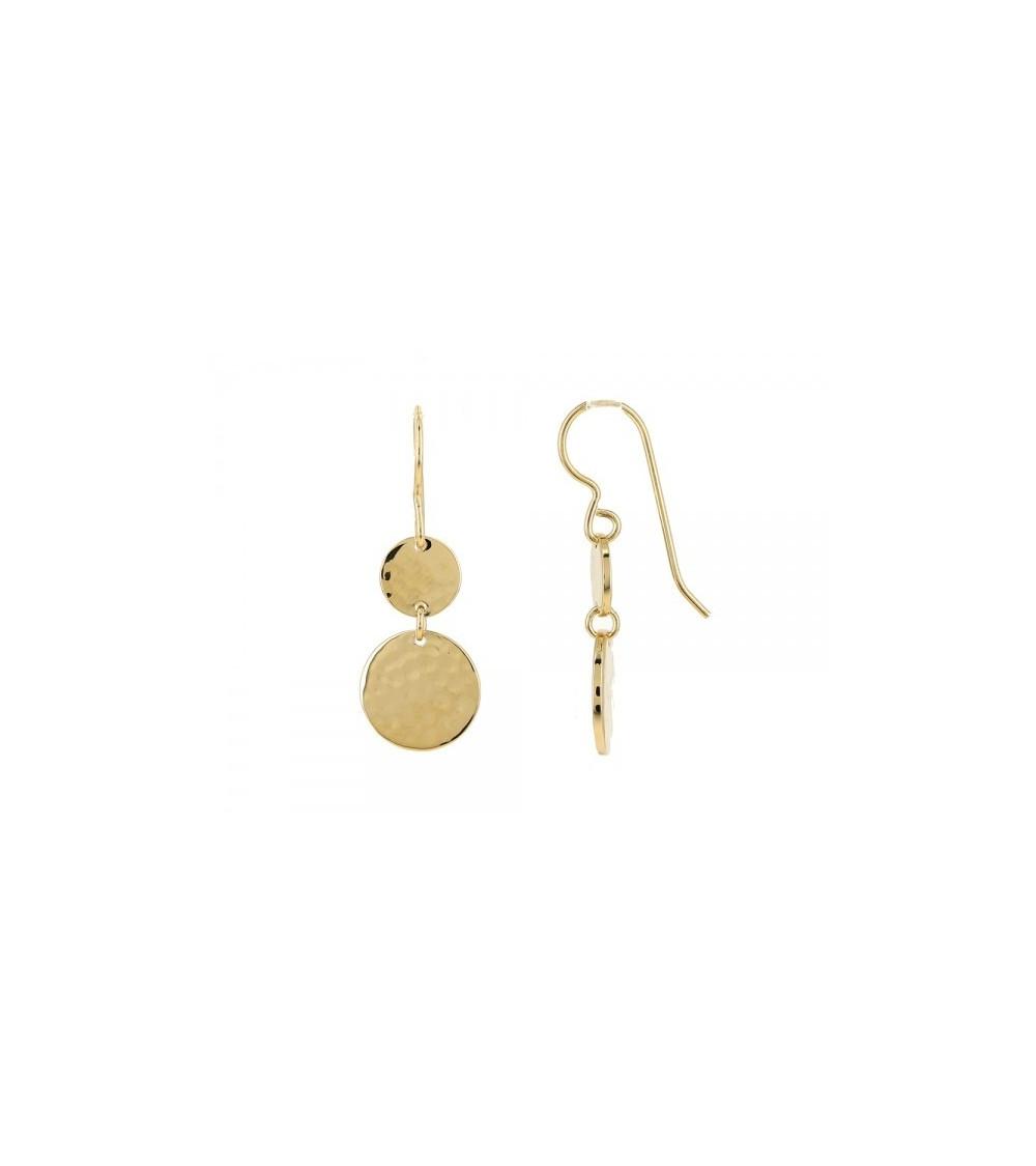 Boucles d'oreilles en plaqué or avec 2 pastilles martelées, avec crochets