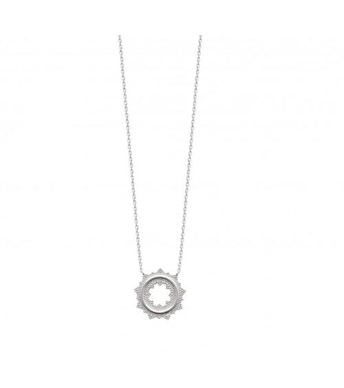 Collier en argent 925/1000 rhodié avec un rond dentelé, en longueur 45 cm réglable en 42 et 40 cm