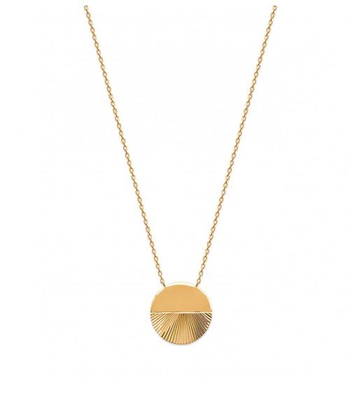 Collier en plaqué or avec rond à moitié lisse et à moitié strié, en longueur 45 cm réglable à 42 et 40 cm