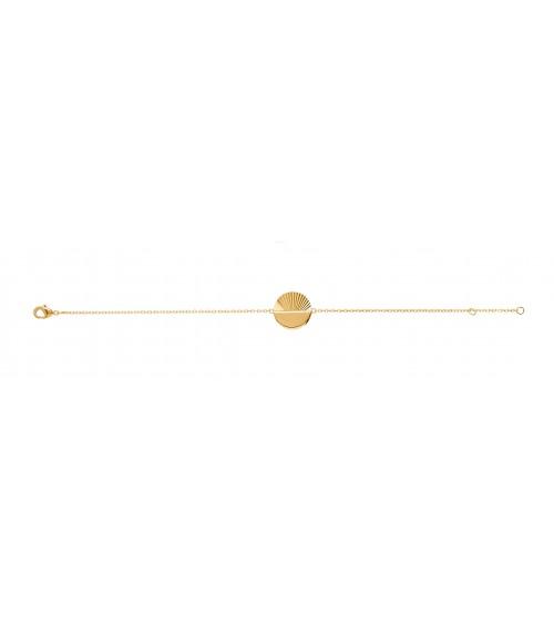 Bracelet en plaqué or avec rond moitié lisse, moitié strié, en longueur 18 cm réglable à 16 cm
