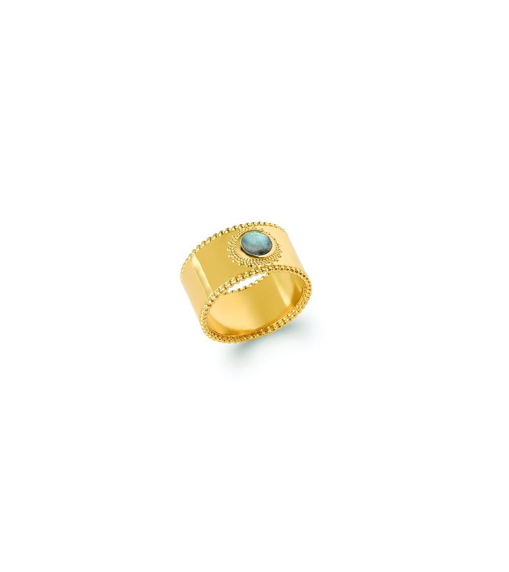 Bague anneau large en plaqué or surmontée d'une pierre labradorite