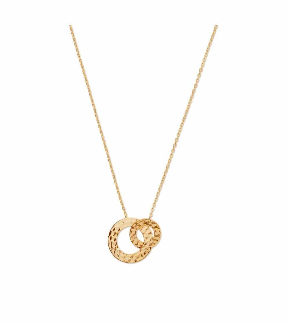 Collier double anneau en plaqué or martelé (longueur 45 cm réglable à 42 et 40 cm)