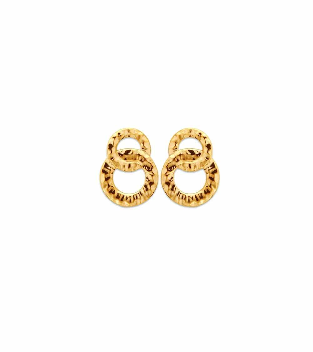 Boucles d'oreilles double anneau en plaqué or martelé, avec poussettes