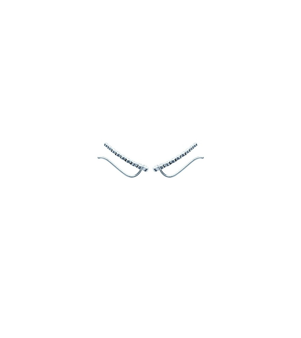 Contours d'oreilles en argent 925/1000 rhodié et oxydes de zirconium blancs sertis clos