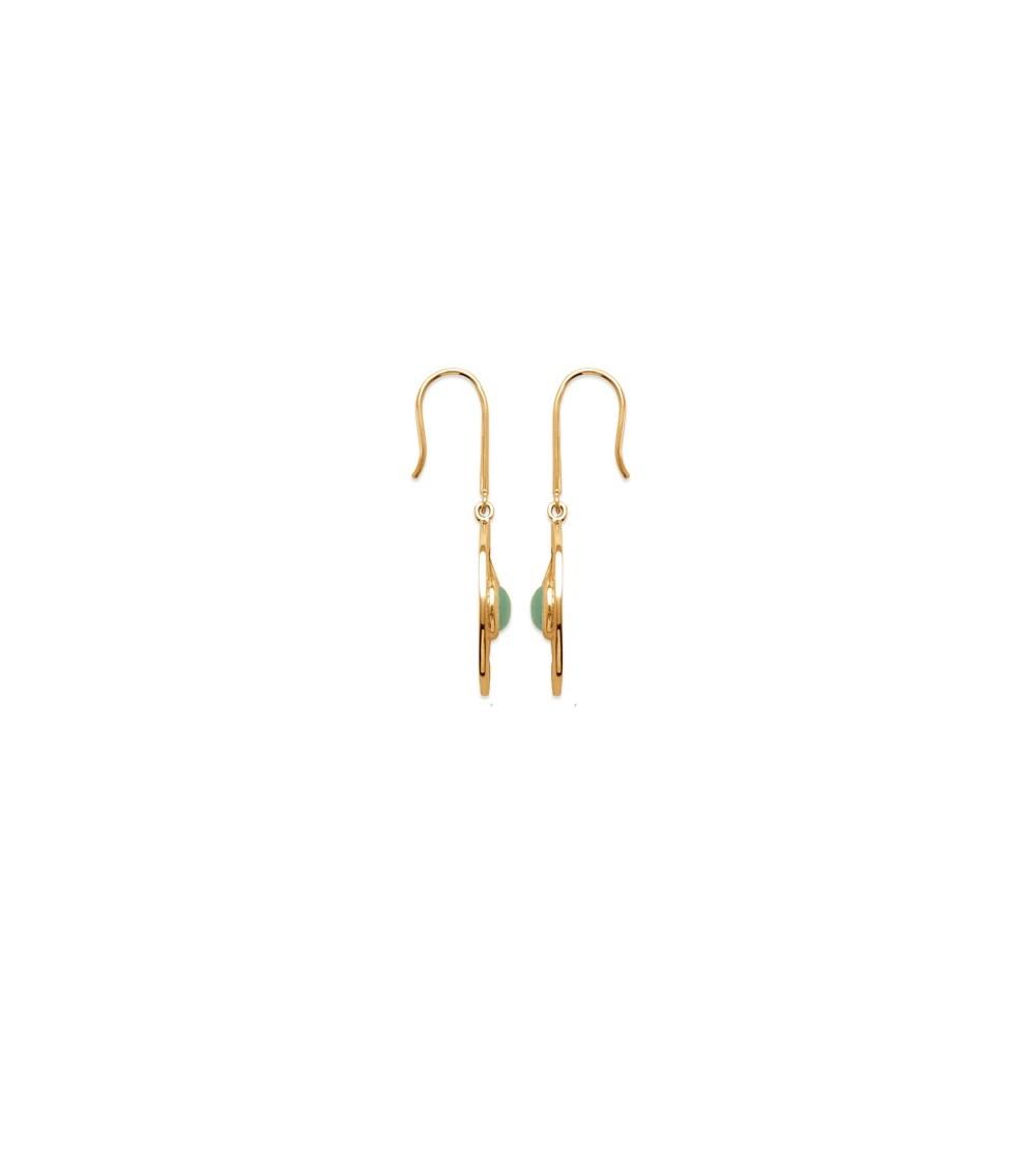 """Boucles d'oreilles """"soleil"""" en plaqué or orné d'une pierre aventurine , avec crochets"""