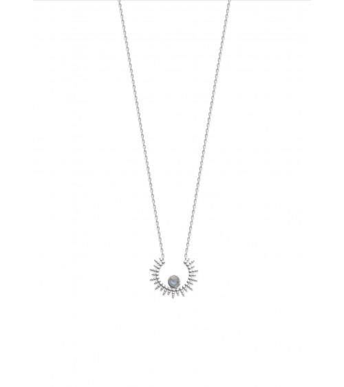 """Collier """"demi soleil"""" en argent 925/1000 rhodié, orné d'une pierre labradorite (longueur 45 cm réglable en 42 et 40 cm)"""
