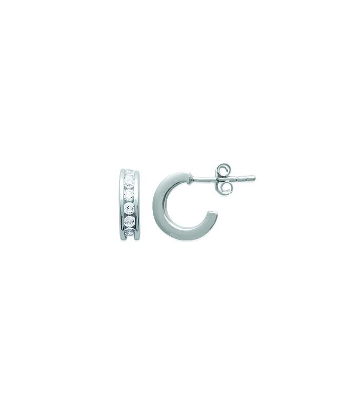 Boucles d'oreilles 3/4 créoles en argent 925/1000 rhodié et oxydes de zirconium