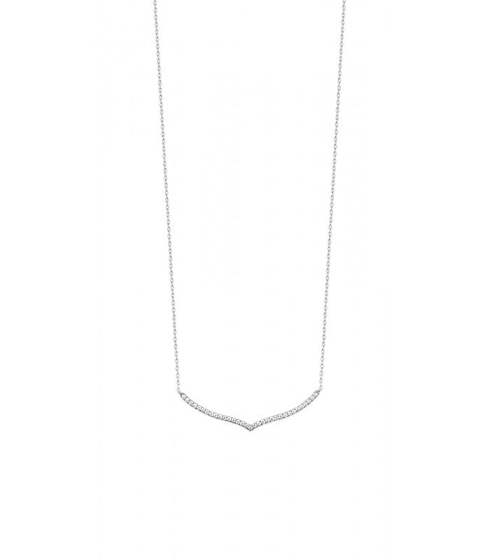 Collier en argent 925/1000 rhodié et oxydes de zirconium en longueur 45 cm ajustable à 42 et 40 cm