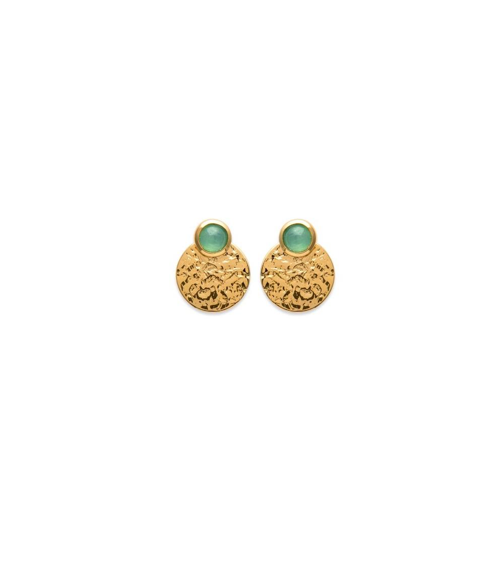 """Boucles d'oreilles """"lobes d'oreilles"""" en plaqué or avec un rond martelé et une pastille sertie d'une pierre aventurine"""