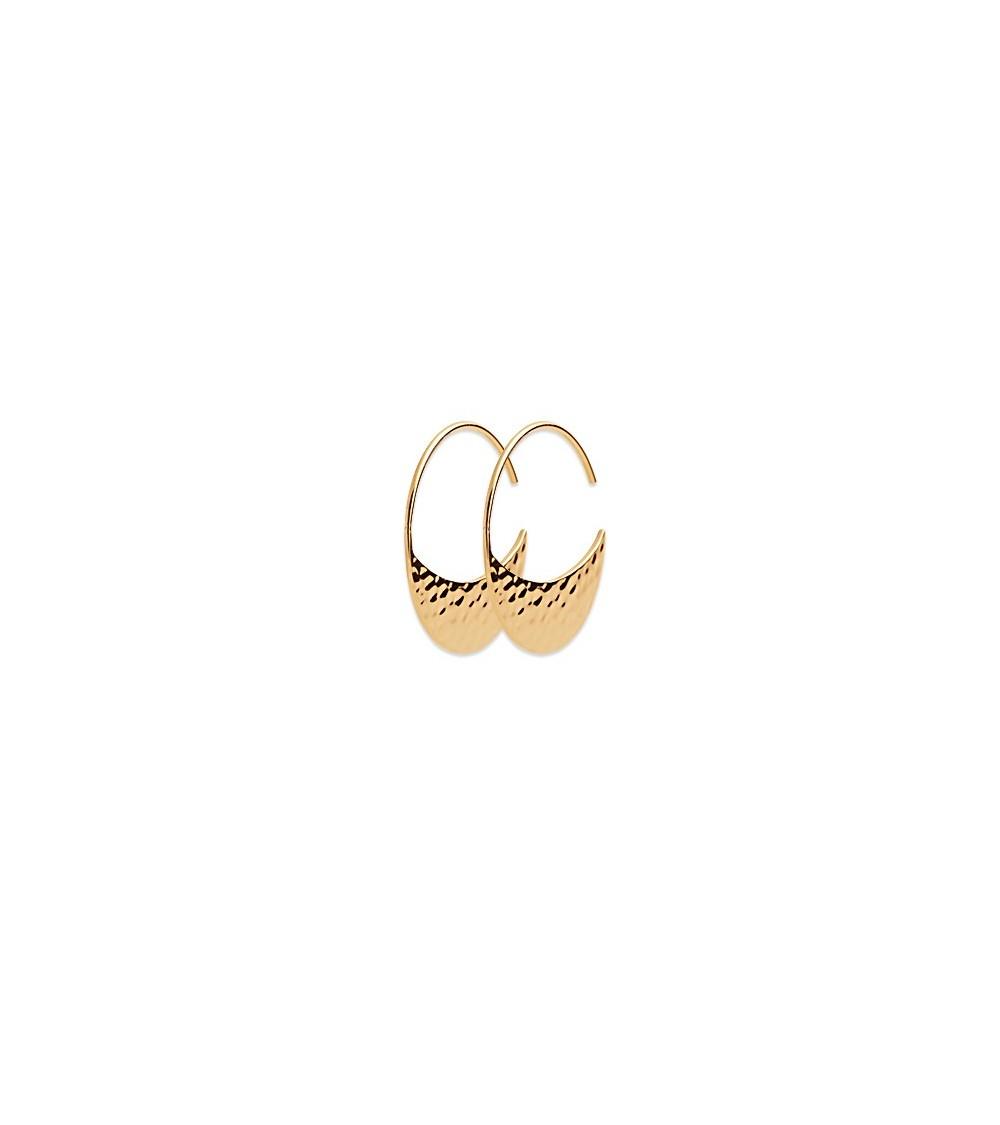 Boucles d'oreilles créoles ouvertes demi lune en plaqué or martelé
