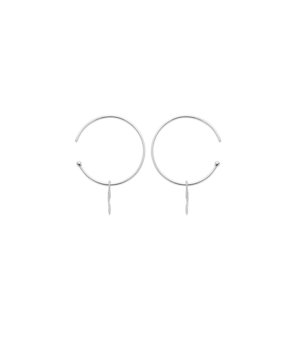 Boucles d'oreilles créoles ouvertes en argent 925/1000 rhodié avec un petit soleil pendant