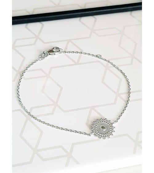 Bracelet en argent 925/1000 rhodié en longueur 18 cm réglable à 16 cm