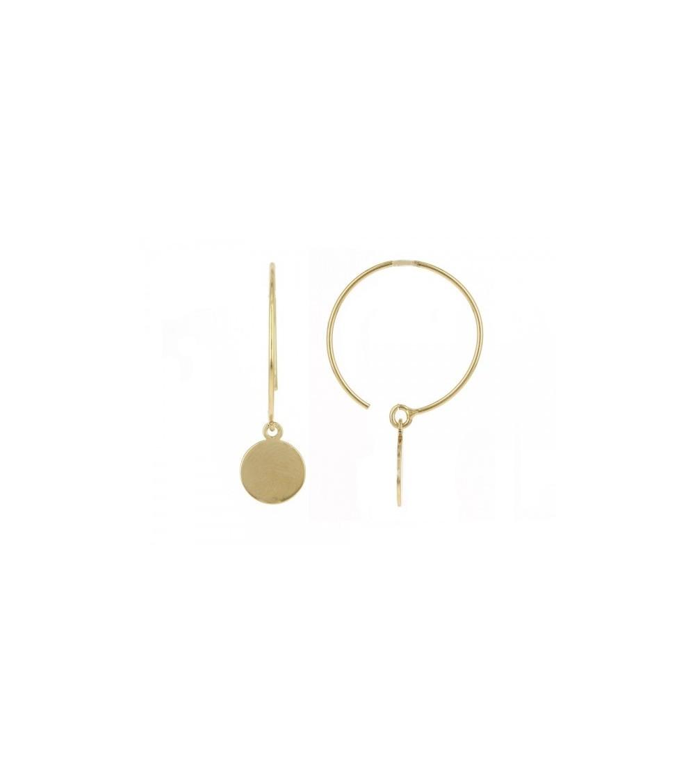 Boucles d'oreilles créoles ouvertes en plaqué or avec pastille lisse pendante